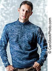 tragen, blaues, pullover, beiläufig, mann