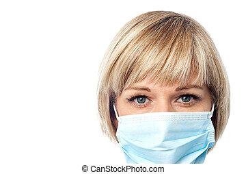 tragen, chirurgische maske, weiblicher doktor