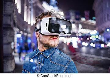 tragen, city., virtuelle wirklichkeit, nacht, goggles., mann