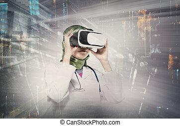 tragen, doppelgänger, aus, junger, virtuelle wirklichkeit, schwimmbrille, erstaunen, hintergrund, frauen, ausdruck, aussetzung