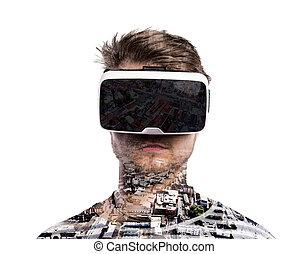 tragen, exposure., city., doppelgänger, virtuelle wirklichkeit, goggles., mann