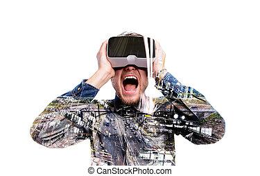 tragen, exposure., doppelgänger, highway., virtuelle wirklichkeit, goggles., mann
