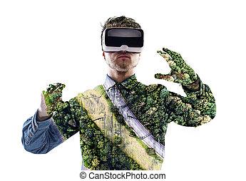 tragen, exposure., doppelgänger, tr, virtuelle wirklichkeit, forest., goggles., mann