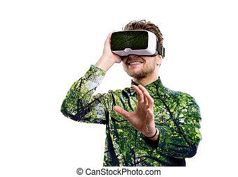 tragen, exposure., doppelgänger, virtuelle wirklichkeit, bäume., goggles., mann