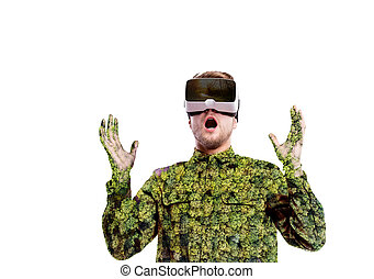 tragen, exposure., doppelgänger, virtuelle wirklichkeit, forest., bäume., goggles., mann
