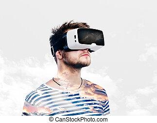 tragen, exposure., doppelgänger, virtuelle wirklichkeit, schwimmbrille, mann