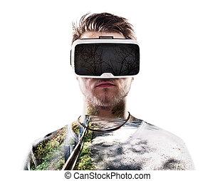 tragen, exposure., road., doppelgänger, virtuelle wirklichkeit, goggles., mann