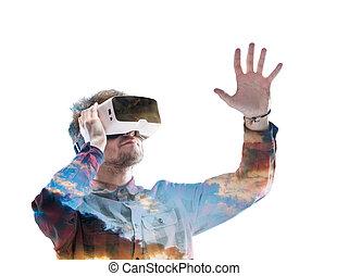 tragen, exposure., sky., doppelgänger, virtuelle wirklichkeit, goggles., mann