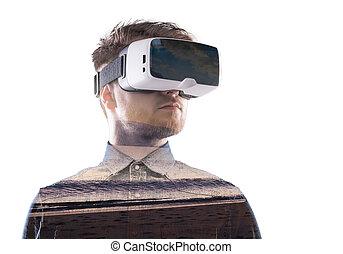 tragen, exposure., strand., doppelgänger, virtuelle wirklichkeit, meer, goggles., mann