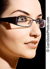 tragen, frau, brille