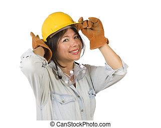 tragen, frau, hintergrund., leder, hart, freigestellt, spanisch, schwimmbrille, handschuhe, attraktive, lächeln, arbeit, weißer hut