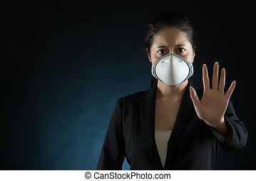 tragen, frau, karten geben, maske, gesicht, virus