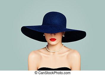 tragen, frau, perlen, klassisch, aufmachung, elegant, lippen, mode, porträt, modell, hut, weiß rot