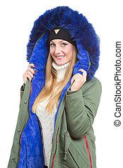 tragen, frau, wintermütze, jacke, schal