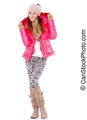 tragen, frau, wintermütze, junger, jacke, schal