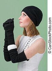 tragen, frau, wintermütze, junger, knitwear.
