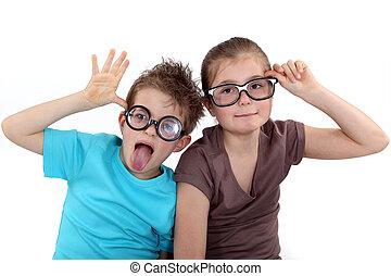tragen, funky, kinder, brille