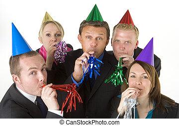 tragen, gruppe, geschäftsmenschen, bevorzugungen, party