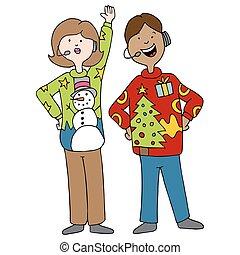 tragen, häßliche, pullover, weihnachten, leute