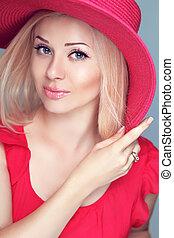tragen, hübsch, modisch, aufmachung, blond, hat., m�dchen, rotes