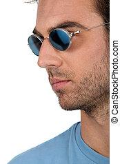 tragen, hübsch, sonnenbrille, mann