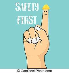 tragen, helm, begriff, zeigen, abbildung, vektor, sicherheit, finger, zuerst