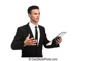 tragen, hintergrund., geschäftsmann, elegant, klemmbrett, kerl, besitz, klage, schlips, weißes, gesturing