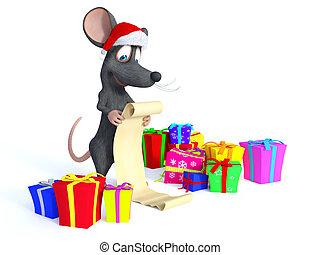 tragen, hut, langer, karikatur, santa, wishlist., lesende , maus, weihnachten