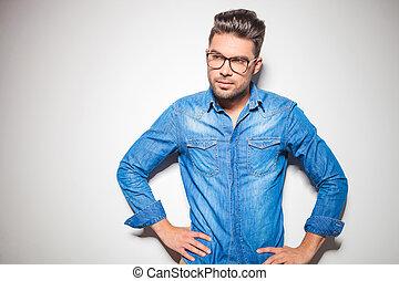 tragen, jeansstoff, mann, brille
