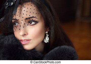 tragen, jewelry., wenig, frau, pelz, schoenheit, hut, mantel, elegant, mode, portrait., retro, weibliche , makeup., schleier, luxus