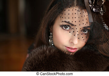 tragen, jewelry., wenig, mode, pelz, schoenheit, hut, mantel, elegant, frau, portrait., retro, weibliche , makeup., lächeln, schleier, luxus