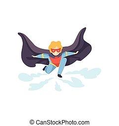 tragen, junge, superhero, bunte, zeichen, maske, abbildung,...