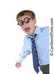 tragen, junge, verrückt, verrückt, spaß, haben, brille