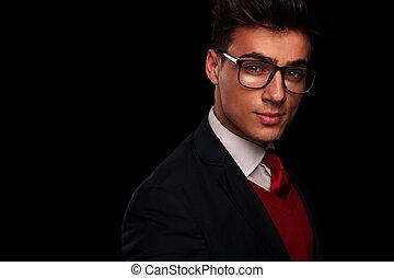 tragen, junger, brille, porträt, mann, hübsch