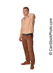 tragen, junger, posierend, hintergrund, weißes, mann,...