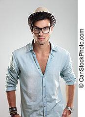 tragen, mann, beiläufig, brille
