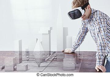 tragen, mann, schwimmbrille, virtuelle wirklichkeit