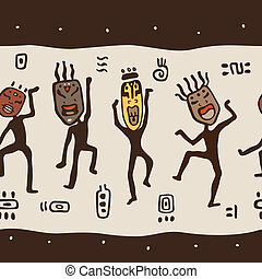 tragen, masks., tanzende figuren, afrikanisch