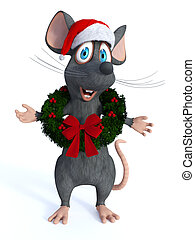 tragen, maus, karikatur, wreath., weihnachten