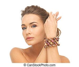 tragen, perlen, frau, armband