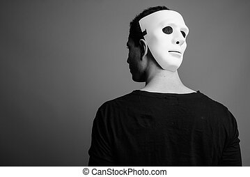 tragen, persisch, porträt, mann, junger, weißes, maske