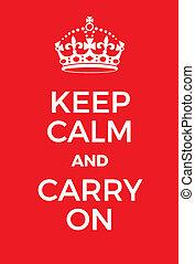 tragen, plakat, gelassen, behalten