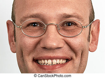 tragen, porträt, lächelnden mann, brille