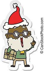 tragen, postpaket, aufkleber, freudig, santa, unter, ...
