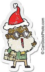 tragen, postpaket, bekümmert, aufkleber, freudig, santa, ...