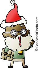 tragen, postpaket, steigung, freudig, santa, unter, ...