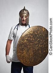 tragen, rüstung, mann, mittelalterlich, doktor