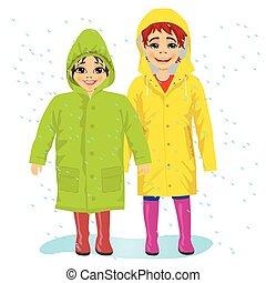 tragen, raingcoats, bruder, sisiter
