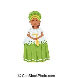 tragen, reizend, dress., wohnung, national, character., traditionelle , vektor, design, brasilianisch, m�dchen, brazil., kleidung, karikatur