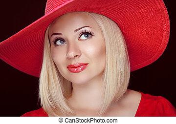 tragen, schöne frau, blaues, lippen, mode, hut, blond, eyes., m�dchen, rotes